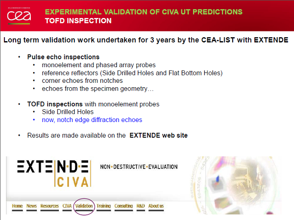 Experimental study for the validation of CIVA predictions in TOFD inspections